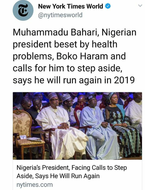 Image result for new york times slams buhari