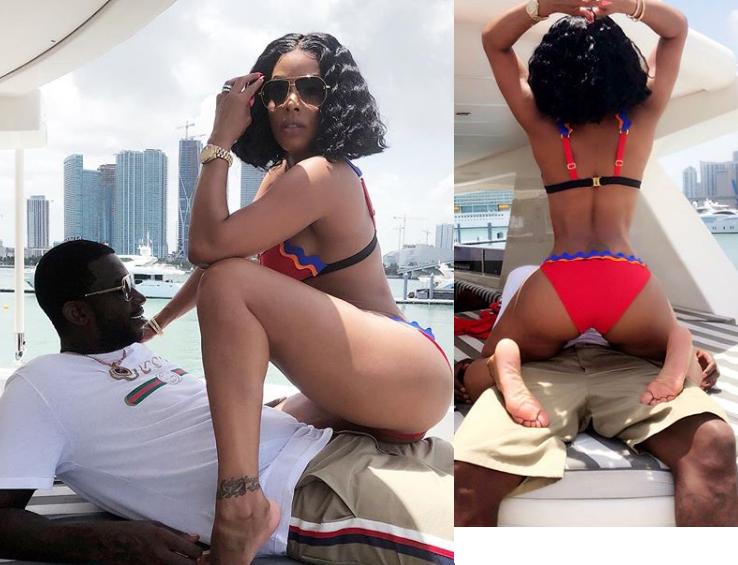 Keyshia Ka'Oir strikes a seductive poses on her husband Gucci Mane (Photos)