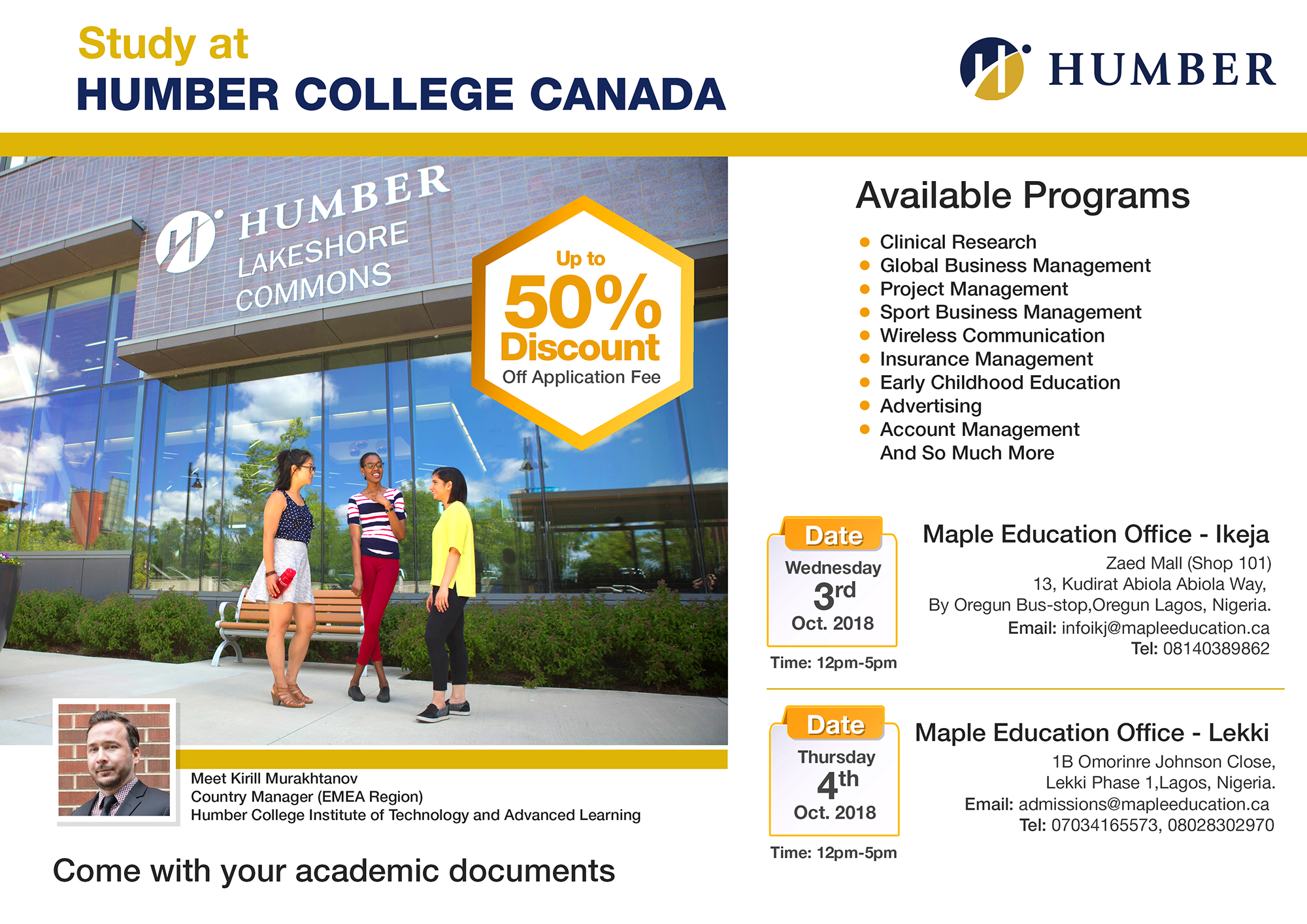 Free Education Seminar work While You Study at Humber College, Canada
