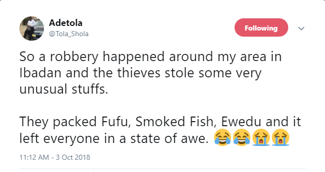 Ibadan thieves leave many in stitches after stealing bizarre things