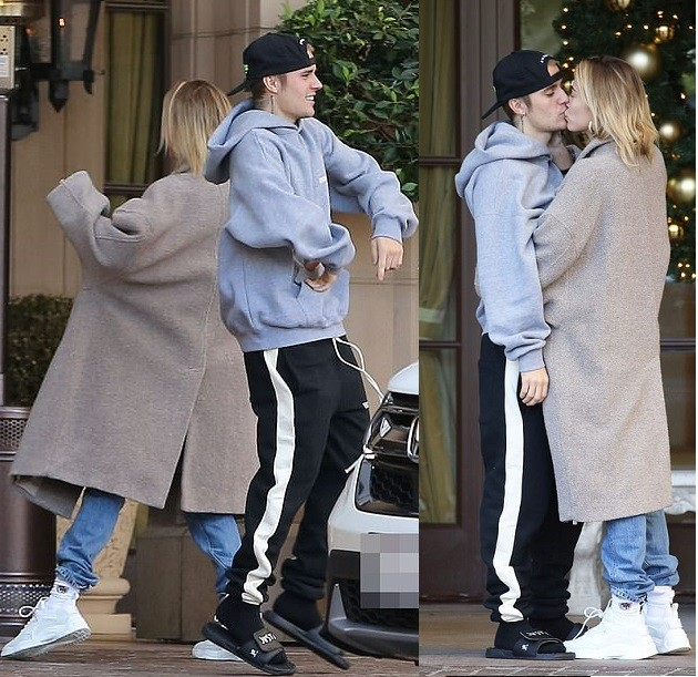 Justin Bieber and wife Hailey Baldwin shows off their dance steps before sharing a passionate kiss in Beverly Hills (Photos)