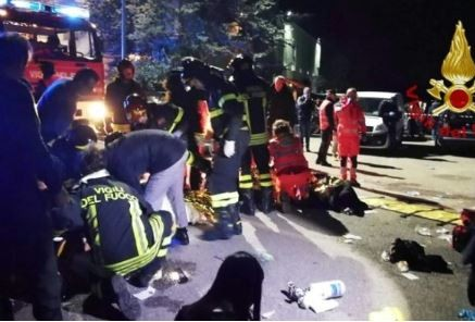 Six people die duringstampede at a rap concert in an Italian nightclub