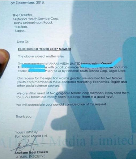 "Lagos company rejects male corp member who applied for a job with them, demanded for ""two gorgeous female corp members"""