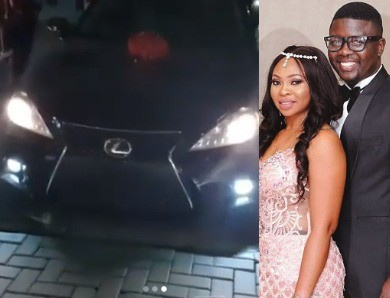 Comedian, Seyilaw surprises his wife, Stacey with a Lexus car on her birthday