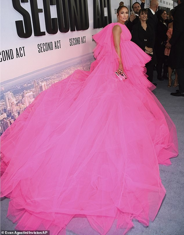 Check out the hot pink tulle dress with huge train Jennifer Lopez rocked to the premiere of 'Second Act' (Photos)