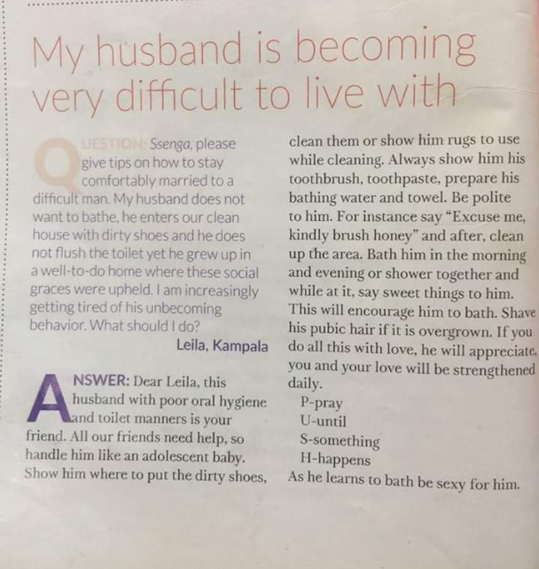 """See the advice a magazine gave to a woman who said her """"difficult"""" husband hates to bathe and flush the toilet"""