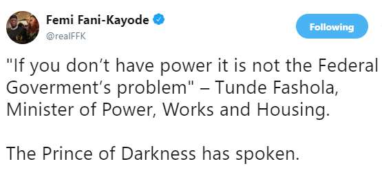 FFK refers to Fashola as the ''Prince of Darkness'' over his recent comment