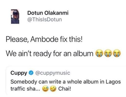 Twitter user begs Governor Ambode to intercede asDJ Cuppy hints at writing an album inside Lagos traffic