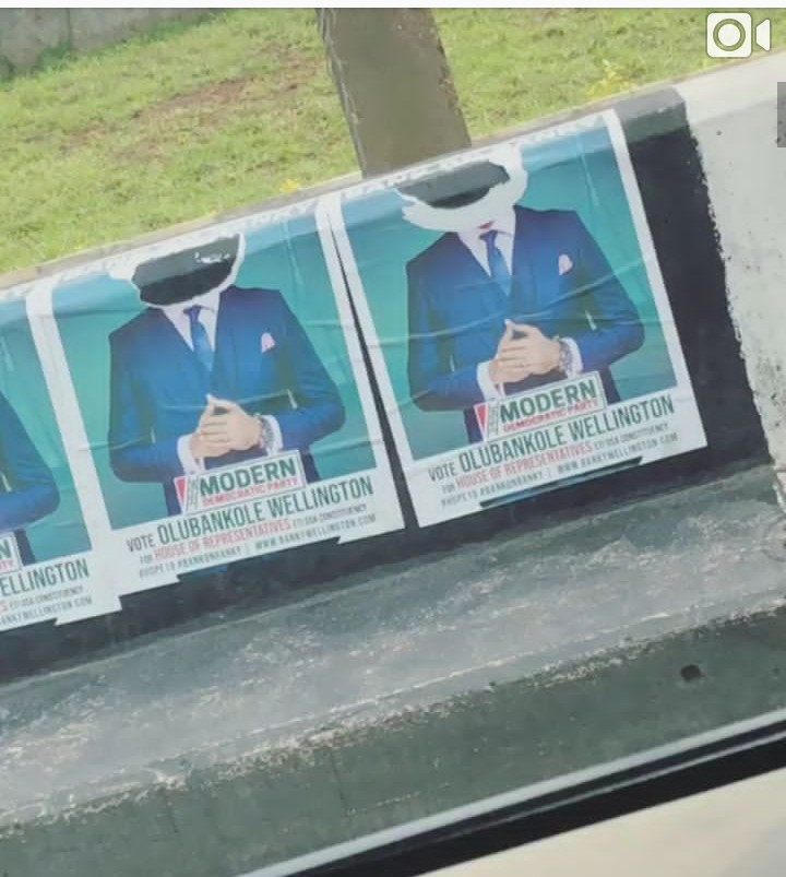Image result for Banky W's campaign posters were destroyed in Lagos.