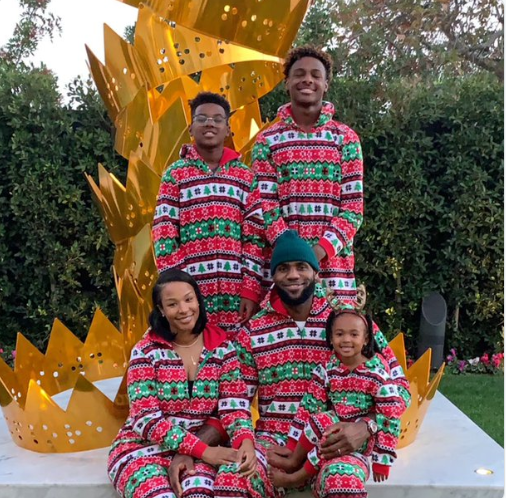 NBA star Lebron James shares cute family photo as they celebrate Christmas together.