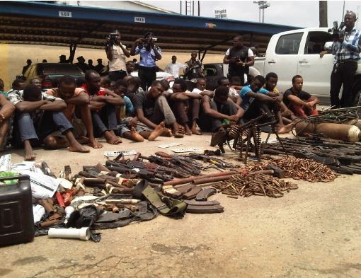 Photo: Enugu State police parades 7 suspected armed robbers