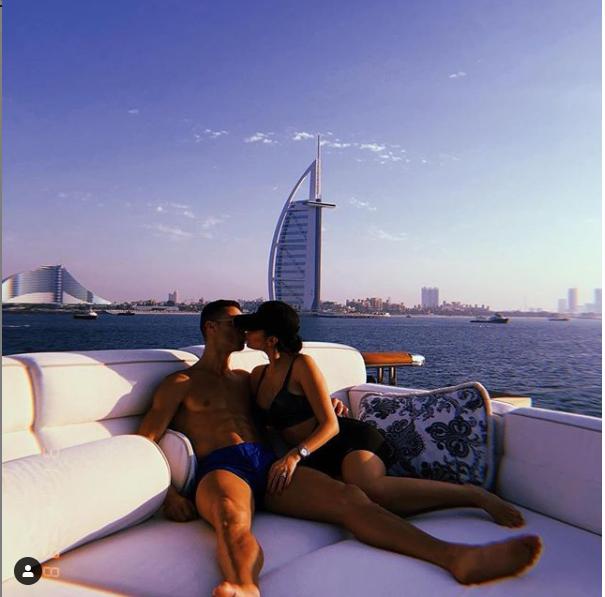 Cristiano Ronaldo locks lips with his partner Georgina Rodriquez on luxury yatch in Dubai (Photo)