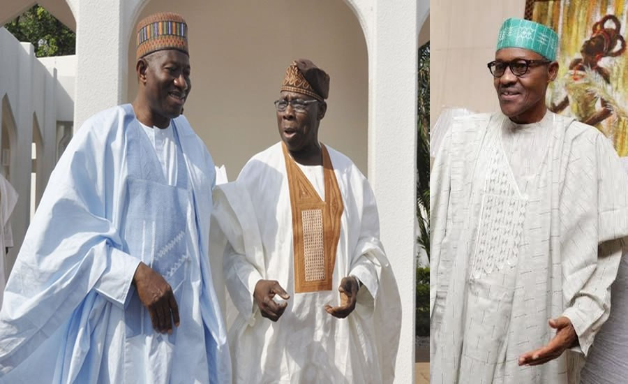 Buhari, Obasanjo, Jonathan, in closed door meeting in Aso Rock