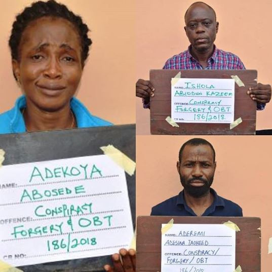 Photo: Six months after, EFCC re-arraigns Taoheed Aderemi, Adekoya Abosede, and Ishola Kazeem for visa scam in Ibadan