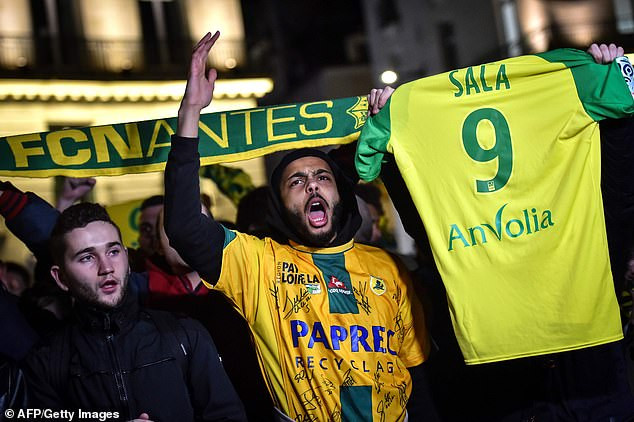 Nantes fans hold a vigil in France for Argentine striker Emiliano Sala after his plane vanishes over Channel Islands(Photos)