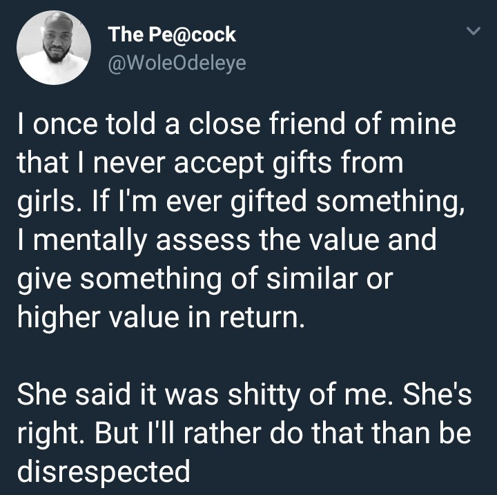 Male twitter user says he never accepts gifts from ladies to avoid disrespect