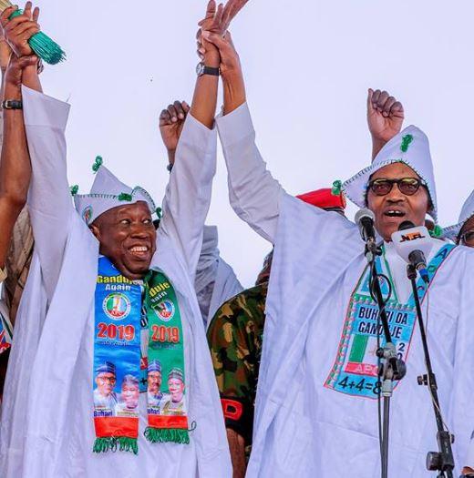 Caption this photo of President Buhari and Kano State governor, Umar Ganduje