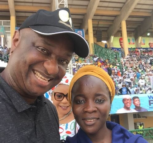 Shot Fired! Festus Keyamo shares a photo with Buba Galadima's daughter at President Buhari's APC rally in Lagos