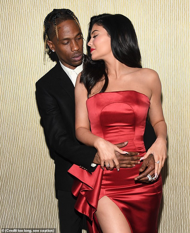 Kylie Jenner & Travis Scott pack on the PDA at Clive Davis pre-Grammys bash (Photos)