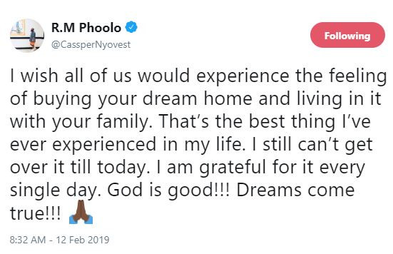 'The best thing Ive ever experienced in my life isbuying my dream home and living in it with my family' - SA rapper, Cassper Nyovest