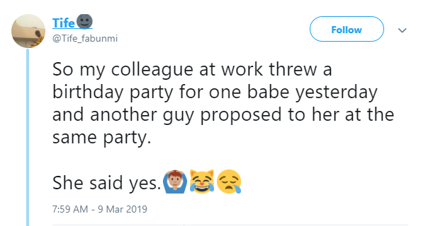 Twitter storiesNigerian man gets the shock of his life at a surprise party he threw for his girlfriend
