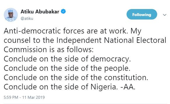 'Anti-democratic forces are at work' - Atiku Abubakar shares advise with INEC