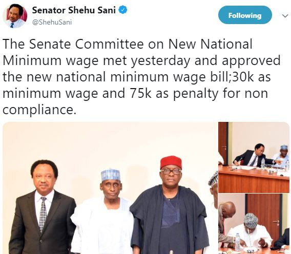 Senate Committeeapproves30k as new minimum wage and 75k as penalty for non compliance - Shehu Sani
