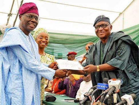 INEC issuescertificateof return toSanwo-Olu (Photo)