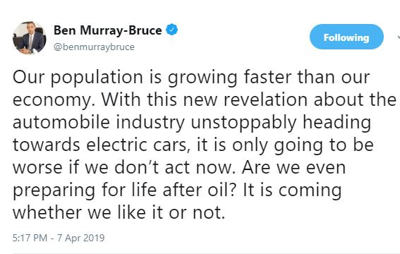 'Our population is growing faster than our economy, are we even preparing for life after oil? - Ben Bruce asks