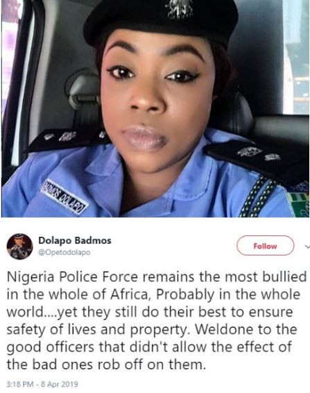 Nigerian police force remains the most bullied in the whole of Africa.yet they still do their best to ensure safety of lives and property - Dolapo Badmos