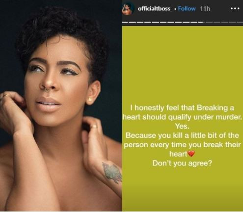 'Breaking a heart should qualify as murder' - Tboss
