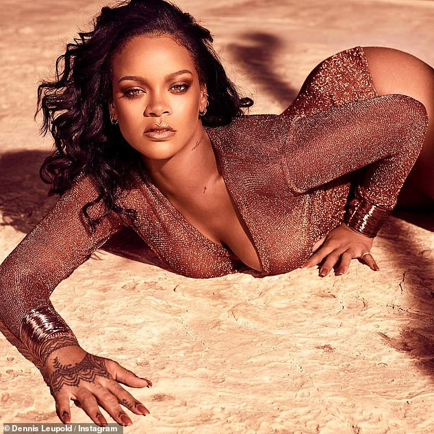 Rihanna strikes suggestive poses in a low-cut leotard (Photos)