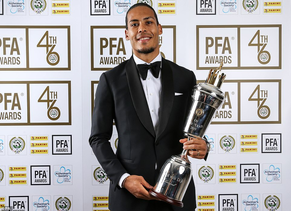 Liverpool defender Virgil van Dijk is officially crowned PFA Players' Player of the Year (Photos)