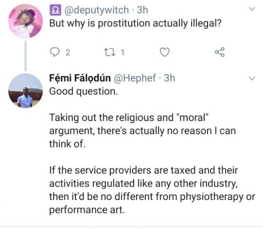 Twitter user asks, 'why is prostitution actually illegal? - See some of the replies he got