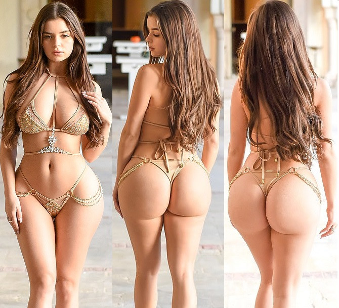 Bikini-clad Demi Rose flaunts her eye-popping curves in nude two-piece during racy photoshoot in Tunisia (Photos)