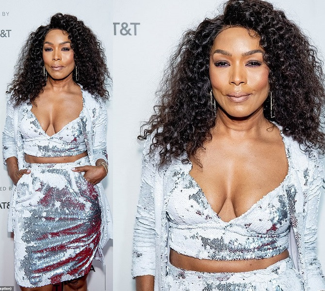 Ageless Angela Bassett, 60, flaunts cleavage in shimmery silver ensemble at Tribeca Film Festival Awards Night in NYC (Photos)