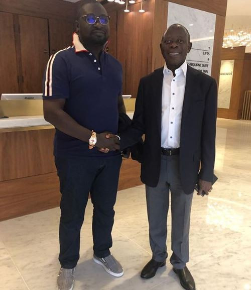 Adams Oshiomhole and Ayiri Emami strike a pose in London