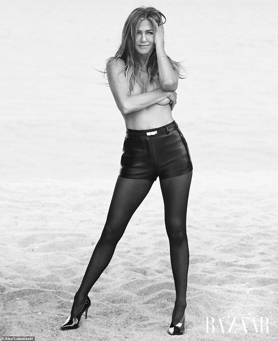 Jennifer Aniston, 50, poses topless for US Harper's Bazaar magazine, reveals she's open to love again (Photos)