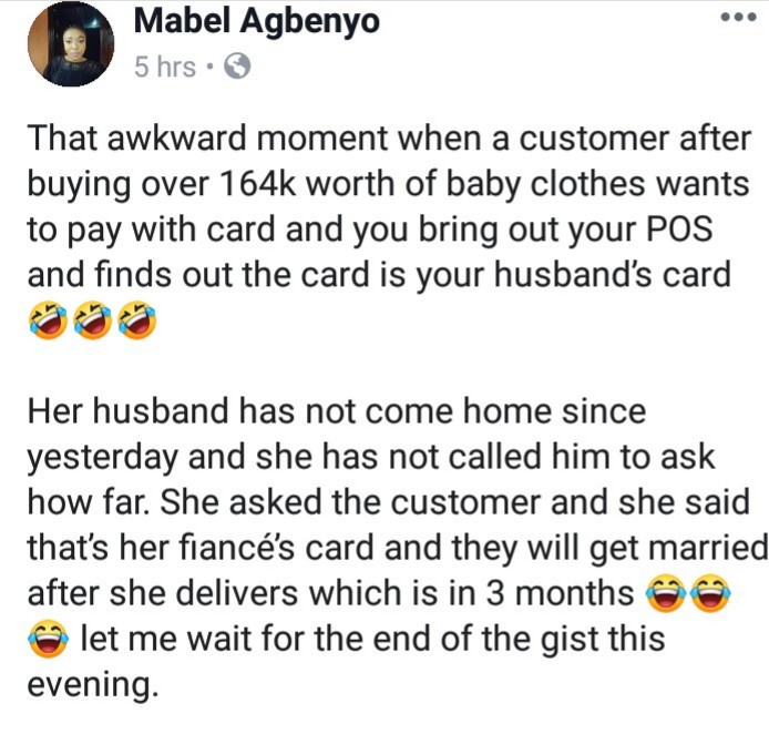 Nigerian Wife discovers husband is cheating after a pregnant customer who bought things at her shop paid with her husband's card