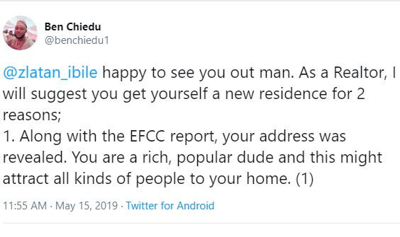 Twitter user advises Zlatan to change his house because his address was revealed along with the EFCC report