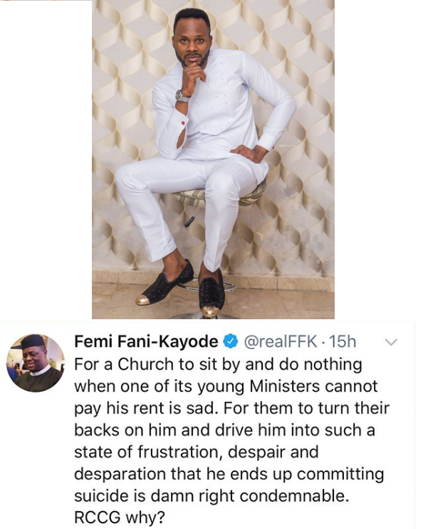 Fani Kayode condemns RCCG after one of its gospel ministers 'committed suicide over accommodation issues' in Abuja