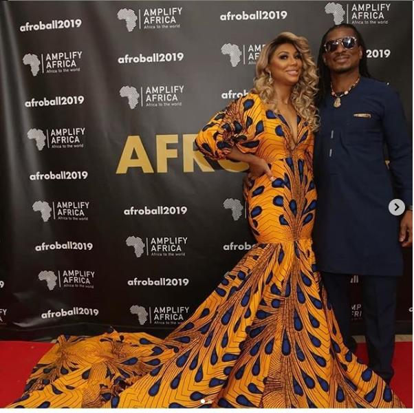 US singer, Tamar Braxton stuns in long Ankara dress as she poses with her Nigerian boyfriend, David Adefeso (Photos)