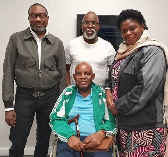 Photos: Femi Otedola, Amaju Pinnick visit Christian Chukwu at the Wellington Hospital,London