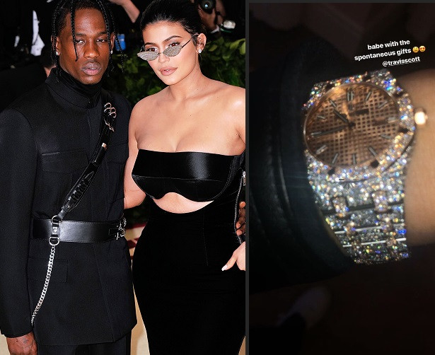 Travis Scott surprises his bae Kylie Jenner with new diamond encrusted wristwatch (Photo)