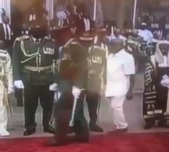 Watch the moment Adam Oshiomole is chased away by security for breaching protocol at Presidential inauguration. (Video)