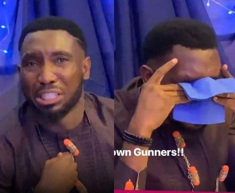 Video: Timi Dakolo breaks down in tears following Arsenal's Europa finals loss to Chelsea