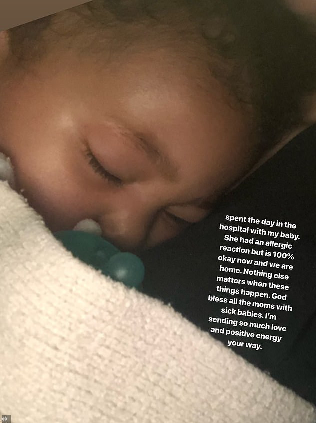 Kylie Jenner's daughter Stormi is hospitalised after suffering an allergic reaction (Photo)