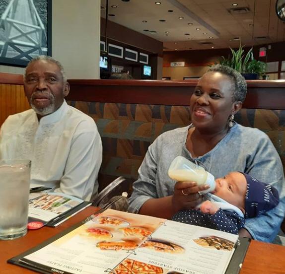 Grandparents duties! Joke Silva and hubby, Olu Jacobs, bond with their grand daughter (photos)
