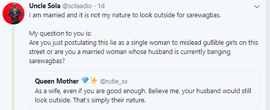 5d0230452a892 - Nigerian males react after lady tweets ''As a spouse, even if you're ok. Imagine me, your husband would nonetheless look exterior''