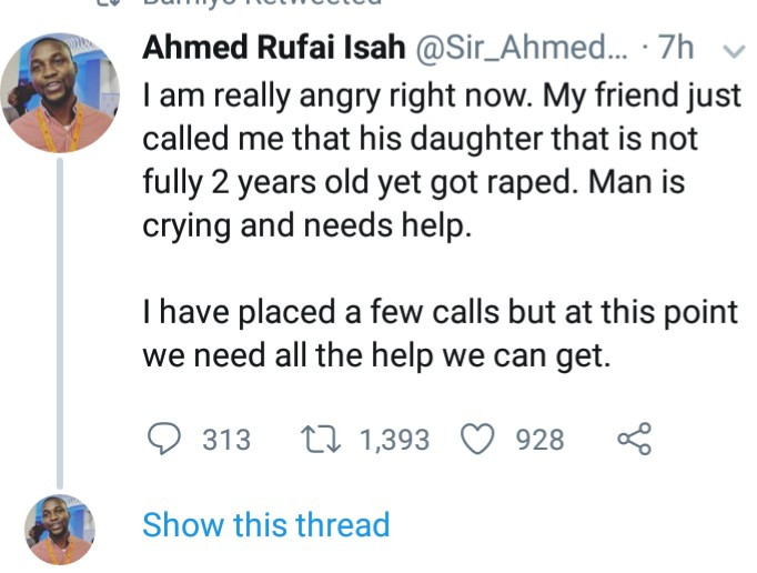 twitter stories: Father in tears as his 1-year-old daughter is raped in school and the person responsible is not yet known
